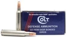 Colt Defense 223 Rem 64gr BTHP Ammo - 20 Rounds