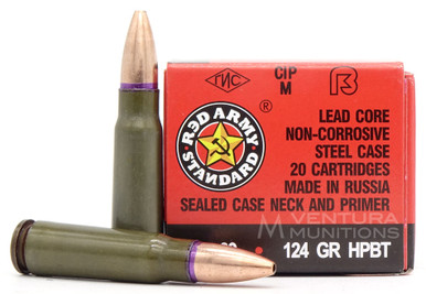 Red Army Standard 762X39 124gr BTHP Ammo - 20 Rounds