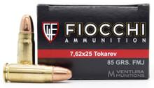 Fiocchi 7.62x25 Tokarev 85gr FMJ Ammo - 50 Rounds