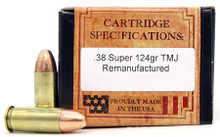 Ventura Heritage 38 Super 124gr TMJ Reprocesed Ammo - 50 Rounds