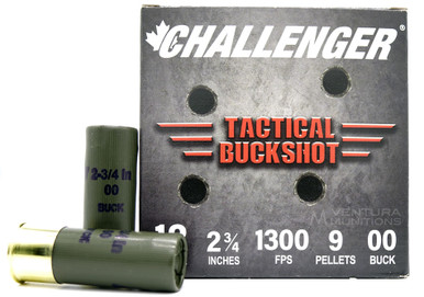 "Challenger Tactical 12ga 2.75"" #9 00Buck Ammo - 25 Rounds"
