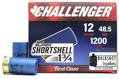 "Challenger Super Shortshell 12ga 1.75"" #14 Buckshot Ammo - 20 Rounds"