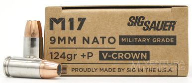 Sig Sauer M17 Elite 9mm NATO 124gr +P V-Crown Ammo - 20 Rounds