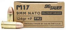 Sig Sauer M17 Elite 9mm NATO 124gr +P FMJ Ammo - 50 Rounds