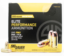 Sig Sauer Elite Performance 9mm 115gr Ball FMJ Ammo - 200 Rounds
