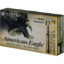 Federal American Eagle 5.56 NATO 62gr Green-Tip FMJ-BT Ammo - 20 Rounds