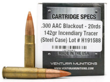 Ventura Tactical .300 AAC 142gr Tracer Ammo - 20 Rounds