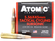 Atomic Tactical Cycling Subsonic 5.56NATO 112gr RNSP Ammo - 50 Rounds