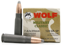 Wolf Military Classic 7.62x39mm 124gr SP Ammo - 20 Rounds