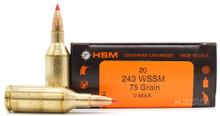 HSM 243 WSSM 75gr V-Max Ammo - 20 Rounds