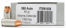 Underwood 380 ACP 65gr Xtreme Defender Ammo - 20 Rounds