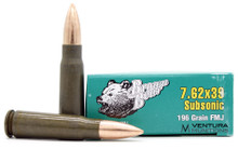 Brown Bear 7.62x39 196gr Subsonic Bimetal FMJ Ammo - 20 Rounds