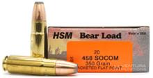HSM Bear Load 458 Socom 350gr Speer JFP Ammo - 20 Rounds
