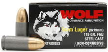 Wolf Performance 9mm 115gr FMJ Ammo - 50 Rounds