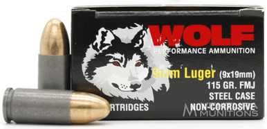 Wolf Performance 9mm 115gr FMJ Ammo - 1000 Rounds