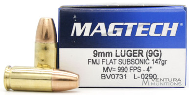 Magtech 9mm 147gr Subsonic FMJ-FP Ammo - 50 Round