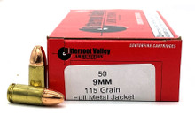 Bitterroot Valley Ammo 9mm 115gr FMJ Remanufactured Ammo - 50 Rounds