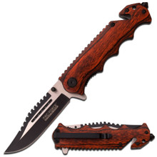 TAC Force TF-809WD Series Spring Assist Folding Knife, Two-Tone Blade Wood