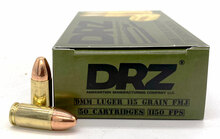 DRZ 9mm 115gr FMJ Ammo - 50 Rounds