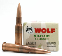 Wolf Military Classic 7.62x54R 148gr FMJ Ammo - 20 Rounds