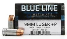Ultimate Ammunition Blue Line 9mm Luger 90gr +P FTM-EXD Ammo - 20 Rounds