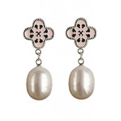 Quatre Earrings in Pink with Silver