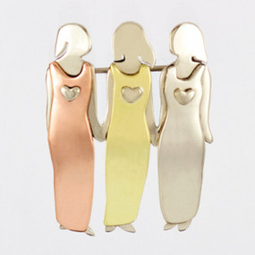 Three Sisters or Best Friends Pin Fashion Jewelry