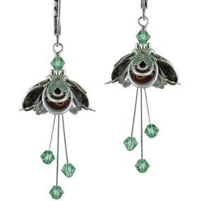 Masquerade Silver Finish with Brown & Green Grass Earrings