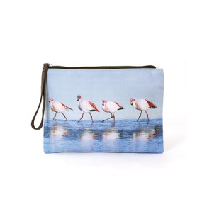 Walking Flamingos Wristlet Pouch