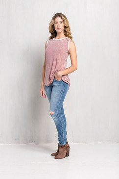 Burnout Tee Top in Rose