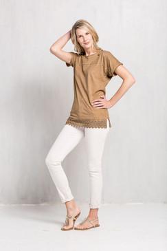 Mona B Caramel Crochet Top