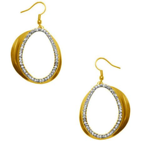 Karine Sultan Large Gold & Crystal Oval Earrings