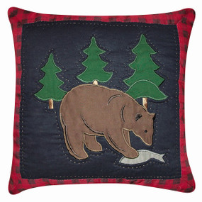 Bear with Fish Toss Pillow