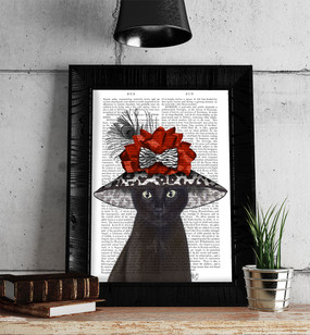 Black Cat with Fabulous Hat Framed in Black