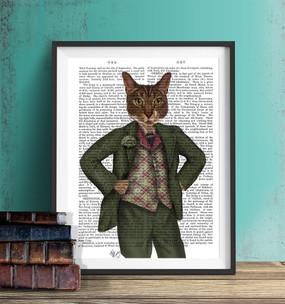 Cat in Tartan Waistcoat shown in black frame