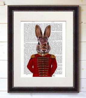 Military Rabbit in Red in Black Frame