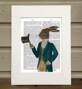 Hare in Turquoise Coat Matted as shipped