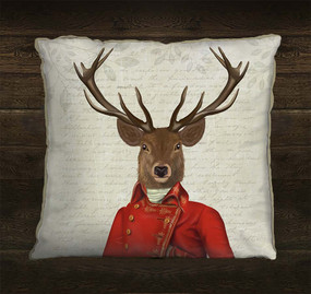 Deer in Red and Gold Jacket Pillow Sham
