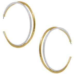Karine Sultan Gold & Silver X-Large Hoop Earrings