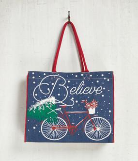 Mona B BELIEVE Holiday Burlap Bag