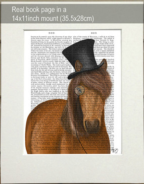 Horse with Top Hat & Monocle Matted as shipped
