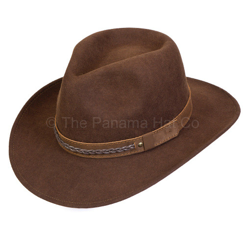 Felt Outback with leather band - shown in brown