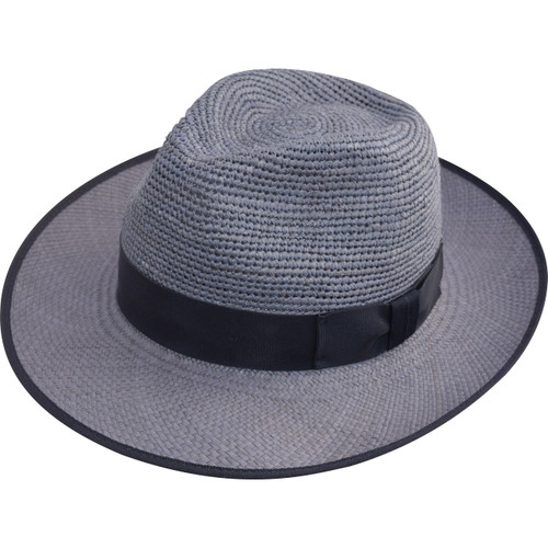 Crochet Crown Trilby, shown in Blue, with Navy band and trim