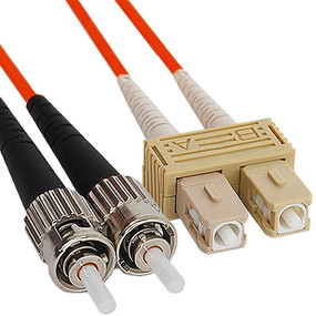 OM2 ST to SC Multimode Duplex Fiber Optic Cable - 1 meter