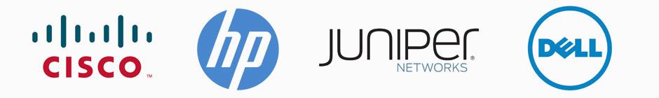 Cisco, HP, Juniper, and Dell Logos