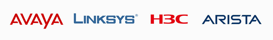 Avaya, Linksys, H3C, and Arista Logos