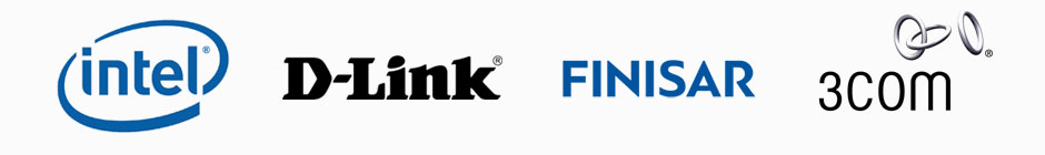 Intel, D-Link, Finisar, and 3Com Logos