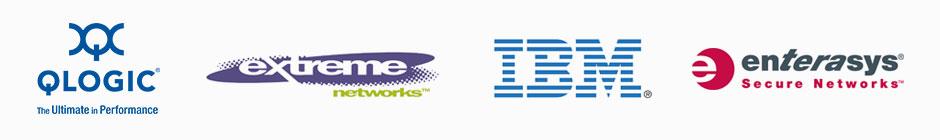 Qlogic, Extreme Networks, IBM, and Enterasys, Logos