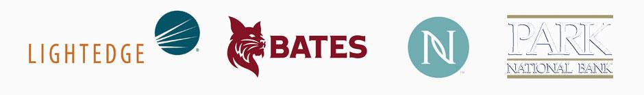 Lightedge, Bates, Nerium, and Pakr Logos