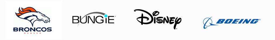 Broncos, Bungie, Disney, and Boeing Logos